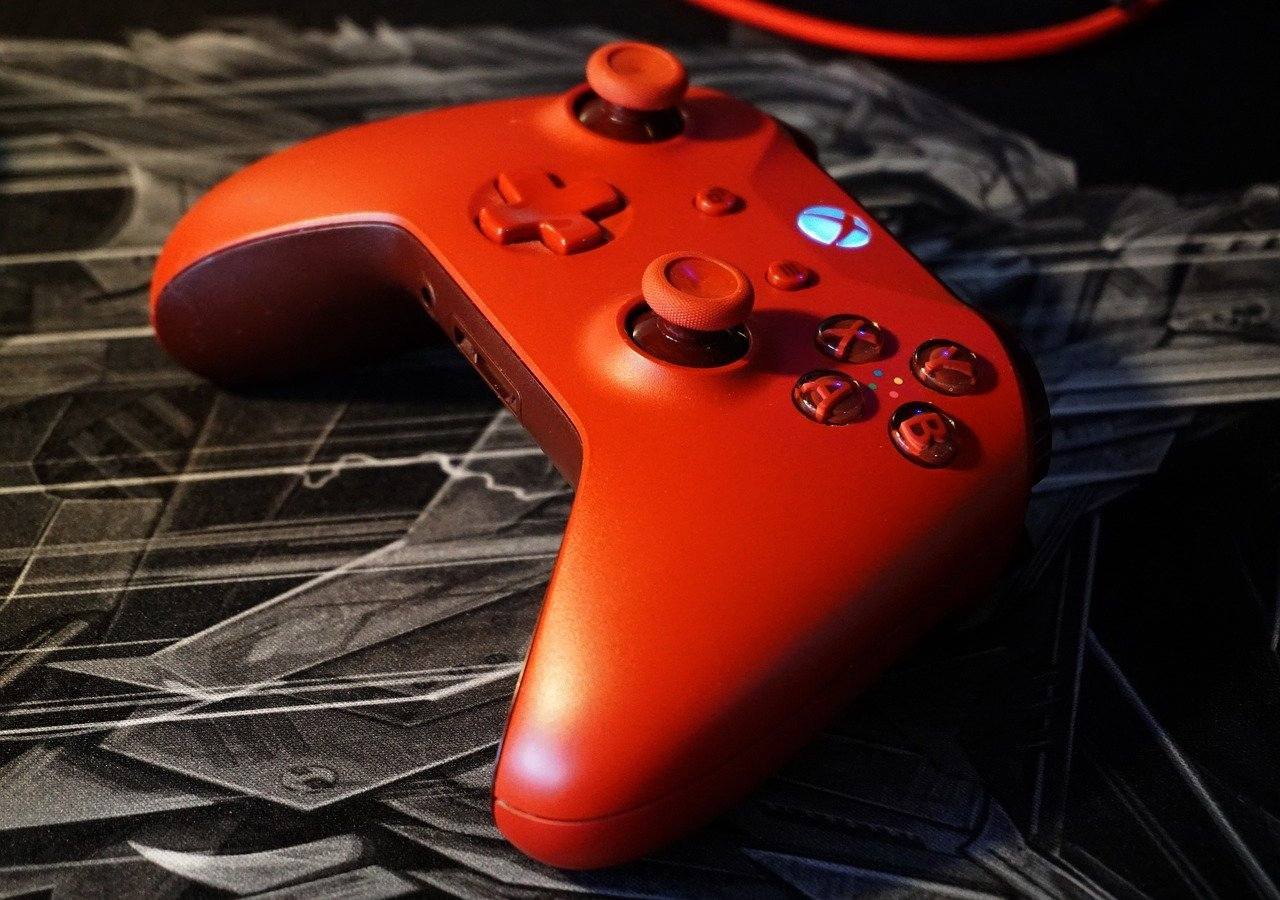 Gaming desks for consoles red controller